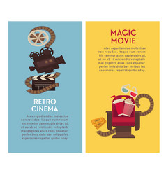 retro cinema movie theater flat poster of vector image vector image