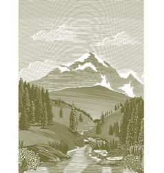 woodcut river scene vector image vector image