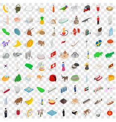 100 tourist attractions icons set vector