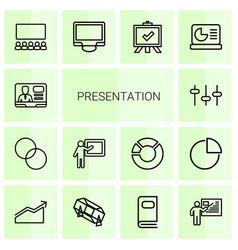 14 presentation icons vector image
