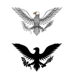 American eagle holding branch and arrows vector image