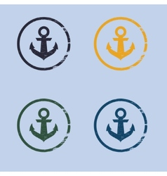 Anchor logo in grunge style vector