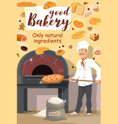 Bakery shop baker with pizza vector