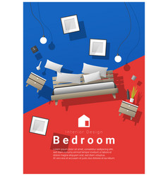 Bedroom furniture hovering on colorful background vector
