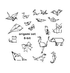 black 8-bit origami hand drawn set vector image