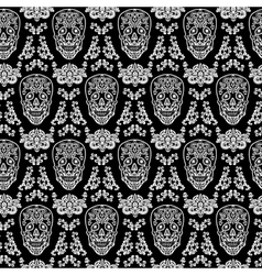 Black seamless pattern skull vector