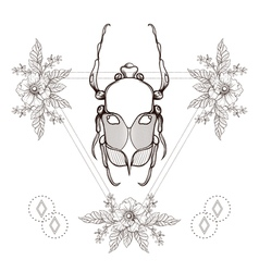 Boho tattoo Blackwork beetle May bug in hipster vector image