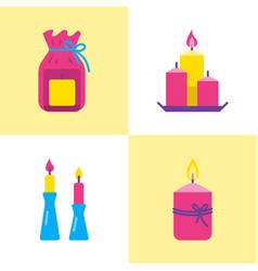 bright candle icons set in flat style vector image