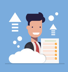 businessman close-up with document on cloud vector image