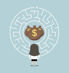 Businesswoman wanting to enter a money maze vector