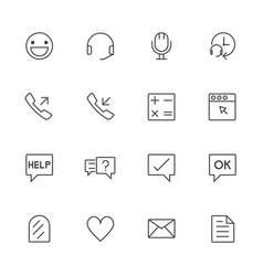 call center and customer service line icons set vector image