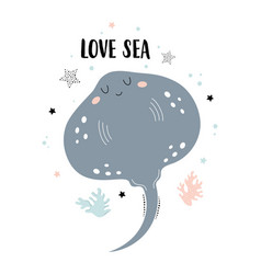 Card with cute stingray isolated on white love sea vector
