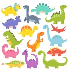 Cartoon cute dinosaurs vector image