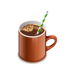 Cocoa drink isolated on white vector image