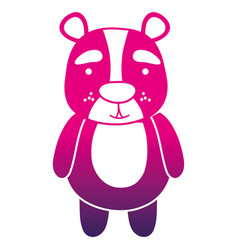 Color silhouette cute and surprised bear wild vector