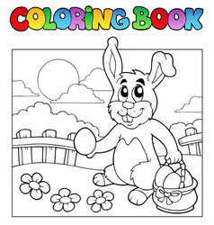 coloring book with bunny and eggs vector image