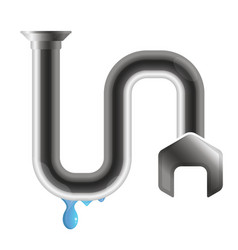 Crack in a water pipe with water drops vector