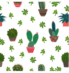 Cute cactus and succulent plants seamless pattern vector