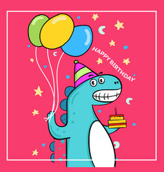 cute dinosaur birthday with balloon and cake vector image