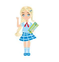 Cute little schoolgirl with books vector