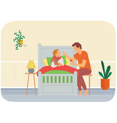 Dad gives medicine to kid child care parenthood vector