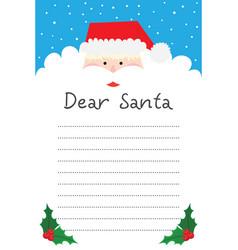 Dear santa writing letter to santa claus vector