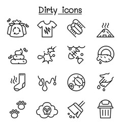 Dirty icon set in thin line style vector
