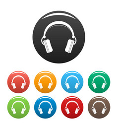 dj headphones icons set color vector image
