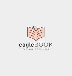 Eagle or bird book education line logo template vector
