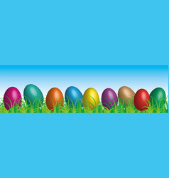 easter eggs on the grass blue sky background vector image