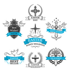 Easter sale paschal greeting icons set vector