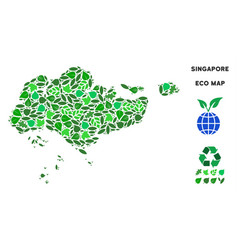 Ecology green mosaic singapore map vector