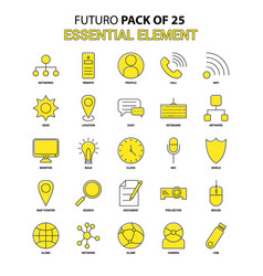 essential element icon set yellow futuro latest vector image