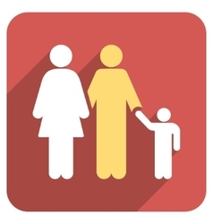 Family Flat Rounded Square Icon with Long Shadow vector