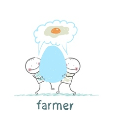 farmer has a huge egg with a man and they think of vector image