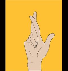 fingers crossed hand gesture lie on luck vector image