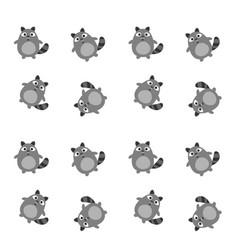Funny raccoon pattern vector