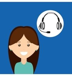 Girl headphones for support vector