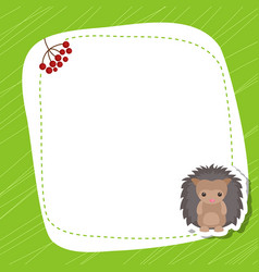 greeting card with cute hedgehog greeting card vector image