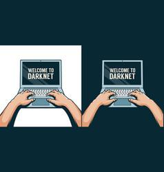 hands on a laptop 3d color vector image