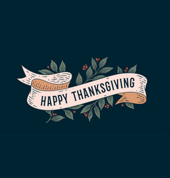 happy thanksgiving retro greeting card vector image