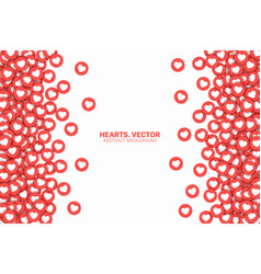 Hearts red flat icons border isolated on white vector