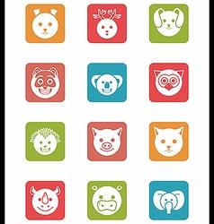 Icon set animals in square vector