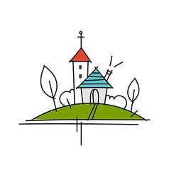 Icon town vector