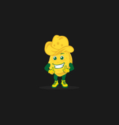 isolated potato with american smile and cow vector image