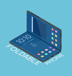 isometric foldable smartphone that display vector image