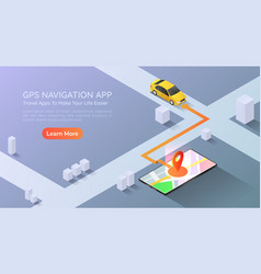 isometric web banner car going to pin point at vector image