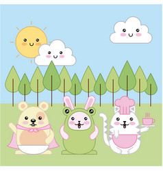 kawaii animal cartoon vector image