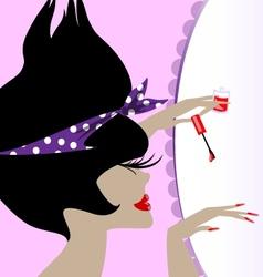 Lady and nail polish vector