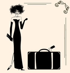 Lady and suitcase vector